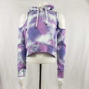 Hollister crop hoodie Sweatshirt thumb holes sz XS